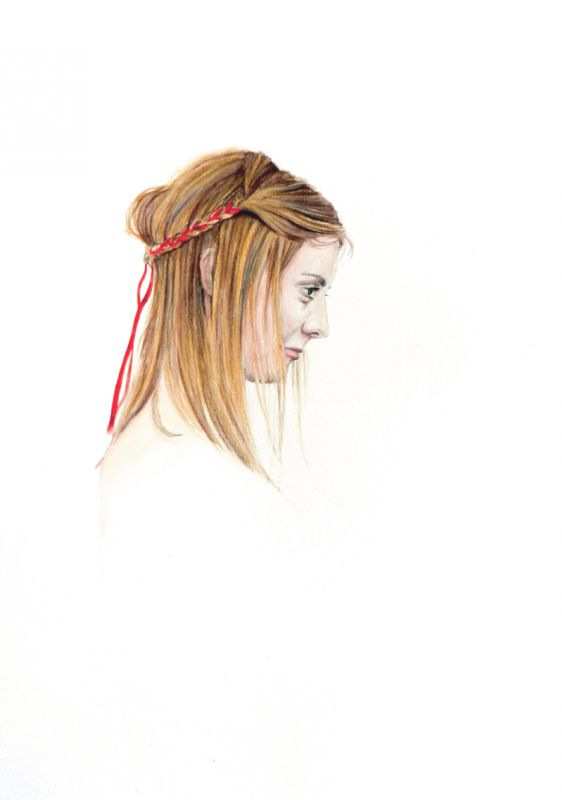 Girl with red ribbon